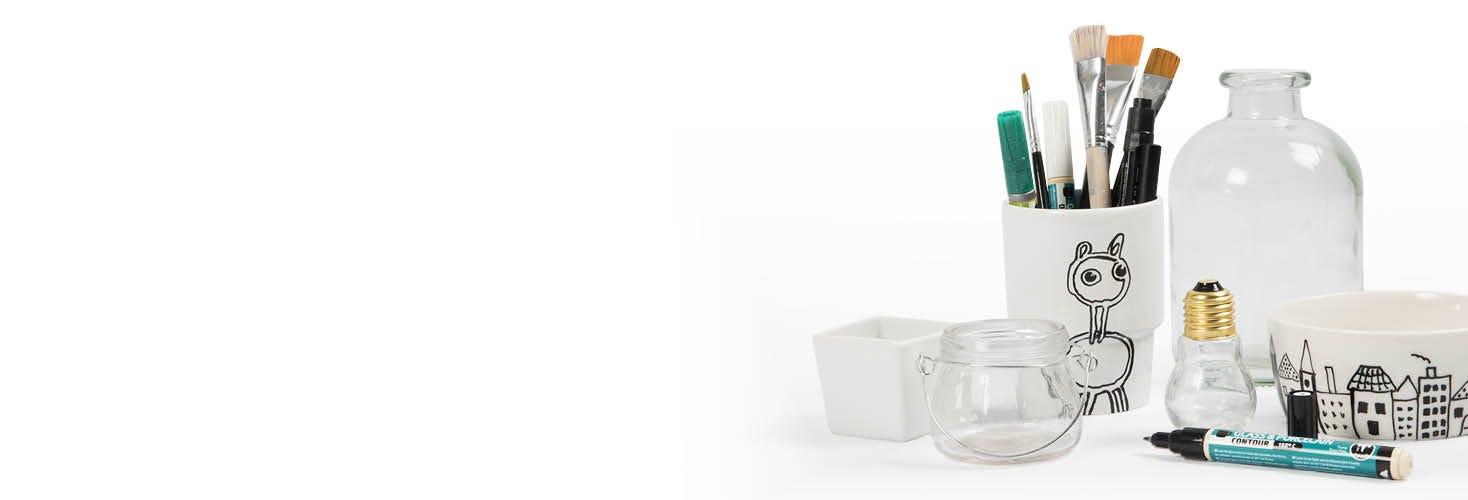 Porzellan- und Glas-Deko