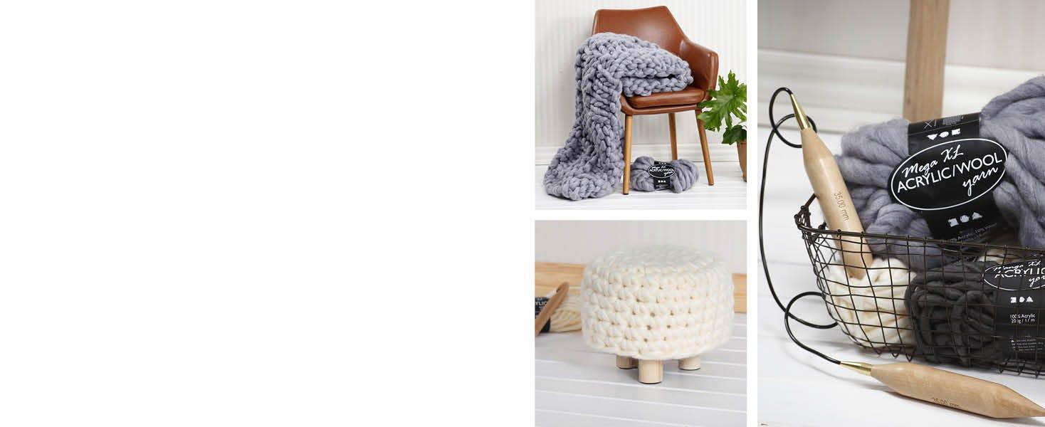 Kreatives Arbeiten mit grober Wolle