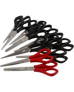 Schulscheren , L: 14 cm, für Rechts- und Linkshänder , Schwarz, Rot, 12 Stck./ 1 Pck.