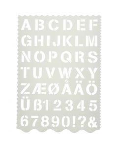 Buchstaben-Schablone, Buchstaben und Zahlen, H: 25 mm, 21x29 cm, 1 Stck.