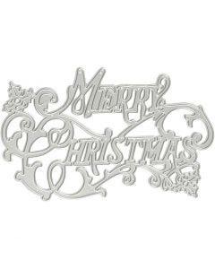 Stanzschablone, Frohe Weihnachten, D: 11,5x7,2 cm, 1 Stck.