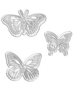 Stanz- und Prägeformen, Schmetterlinge, Größe 5x4,5+6,5x5+8x4,5 cm, 1 Stck.