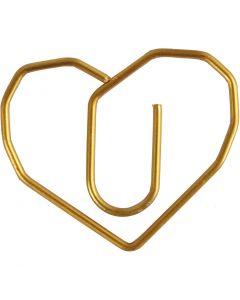 Klammern, Herz, Größe 30x20 mm, Gold, 6 Stck./ 1 Pck.