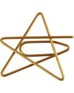 Klammern, Stern, Größe 30x30 mm, Gold, 6 Stck./ 1 Pck.