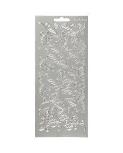 Sticker, Blätter, 10x23 cm, Silber, 1 Bl.