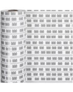 Geschenkpapier, Badehaus, B: 57 cm, 80 g, Schwarz, Weiß, 150 m/ 1 Rolle