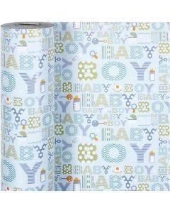 Geschenkpapier, Baby Boy, B: 50 cm, 80 g, 150 m/ 1 Rolle