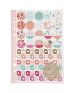 Sticker-Buch - Sortiment, Wasserfarben, A5, Gold, Korallen, Rot, 1 Stck./ 1 Pck.