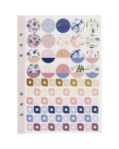 Sticker-Buch, Blumen, A5, Gold, Flieder, Rosa, 1 Stck./ 1 Pck.