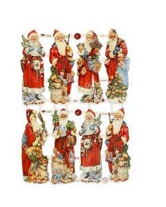 Vintage-Glanzbilder, Weihnachtsmann, 16,5x23,5 cm, 3 Bl./ 1 Pck.