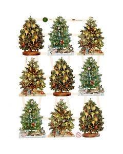 Vintage-Glanzbilder, Weihnachtsbaum, 16,5x23,5 cm, 3 Bl./ 1 Pck.