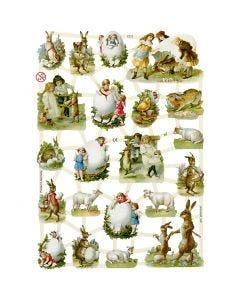 Vintage-Glanzbilder, Ostern auf dem Land, 16,5x23,5 cm, 3 Bl./ 1 Pck.