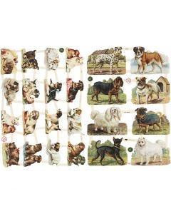 Vintage-Glanzbilder, Hunde, 16,5x23,5 cm, 2 Bl./ 1 Pck.