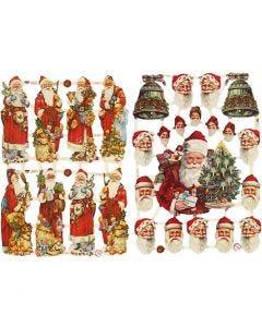 Vintage-Glanzbilder, Nikolaus mit Geschenken, 16,5x23,5 cm, 2 Bl./ 1 Pck.