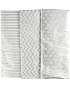 Seidenpapier, 50x70 cm, 17 g, Silber, 6 Bl./ 1 Pck.
