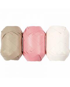 Kräuselband, B: 10 mm, Beige, Rosa, Weiß, 3x10 m/ 1 Pck.