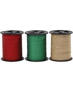 Kräuselband, B: 10 mm, Glitter, Gold, Grün, Rot, 3x15 m/ 1 Pck.