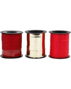 Kräuselband, Gold, Rot, Rot mit Glitter, 3x15 m/ 1 Pck.