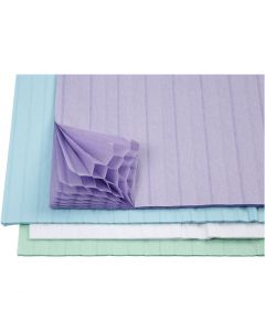 Wabenpapier - Sortiment, 28x17,8 cm, Hellblau, Grün, Flieder, Weiß, 4x2 Bl./ 1 Pck.