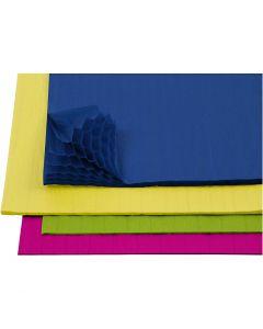 Wabenpapier - Sortiment, 28x17,8 cm, Sortierte Farben, 4x2 Bl./ 1 Pck.