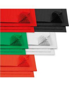 Wabenpapier - Sortiment, 28x17,8 cm, Weiß, 5x8 Bl./ 1 Pck.