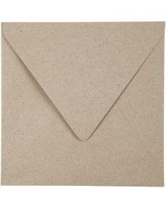 Recycling Umschläge, Umschlaggröße 16x16 cm, 120 g, Natur, 50 Stck./ 1 Pck.
