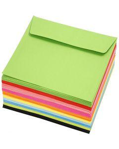 Farbige Briefumschläge - Sortiment, Umschlaggröße 16x16 cm, 80 g, Sortierte Farben, 10x10 Stck./ 1 Pck.