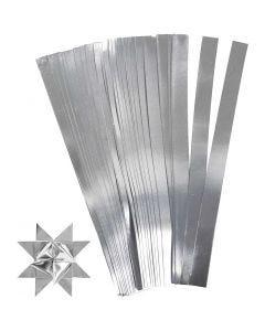 Papierstreifen für Fröbelsterne, L: 45 cm, D: 4,5 cm, B: 10 mm, Silber, 100 Streifen/ 1 Pck.