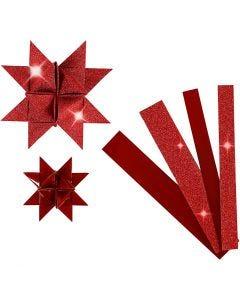 Papierstreifen für Fröbelsterne, L: 44+78 cm, D: 6,5+11,5 cm, B: 15+25 mm, Glitter,Lack, Rot, 40 Streifen/ 1 Pck.