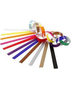 Papierketten, L: 16 cm, B: 15 mm, Sortierte Farben, 400 Stck./ 1 Pck.