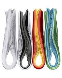 Quilling-Streifen, L: 78 cm, B: 5 mm, 120 g, Sortierte Farben, 12x100 Stck./ 1 Pck.