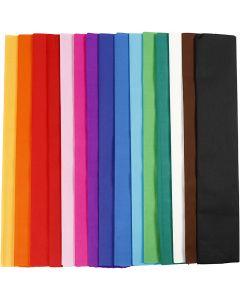 Krepppapier, L: 2,5 m, B: 50 cm, 22 g, Sortierte Farben, 15 Lage/ 1 Pck.