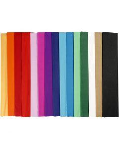 Krepppapier, L: 2,5 m, B: 50 cm, 22 g, Sortierte Farben, 60 Lage/ 1 Pck.