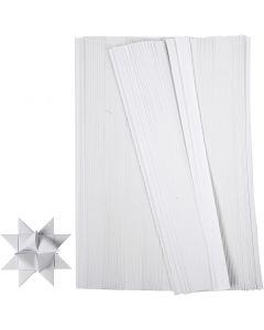 Papierstreifen für Fröbelsterne, L: 45 cm, B: 10 mm, D: 4,5 cm, Weiß, 500 Streifen/ 1 Pck.