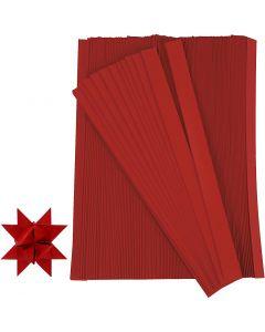 Papierstreifen für Fröbelsterne, L: 45 cm, B: 10 mm, D: 4,5 cm, Rot, 500 Streifen/ 1 Pck.