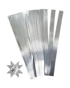 Papierstreifen für Fröbelsterne, L: 45 cm, D: 6,5 cm, B: 15 mm, Silber, 100 Streifen/ 1 Pck.