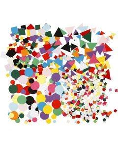 Karton-Mosaik, Größe 10+15+20 mm, Sortierte Farben, 8x180 g/ 1 Pck.