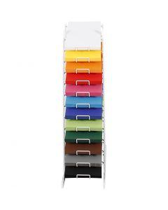 Farbkarton mit Display-Ständer, H: 900 mm, A4, 210x297 mm, Sortierte Farben, 12x100 Bl./ 1 Pck.