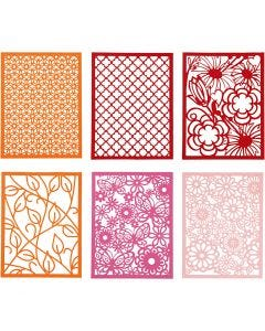 Block aus Karton mit Spitzen-Muster, A6, 104x146 mm, 200 g, Orange, Pink, Rosa, Rot, 24 Stck./ 1 Pck.
