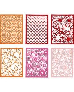 Block aus Karton mit Spitzen-Muster, A6, 104x146 mm, 200 g, Orange, Pink, Rot, Rosa, 24 Stck./ 1 Pck.