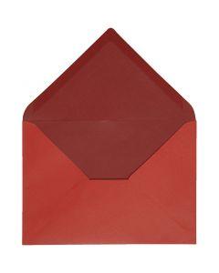 Kuvert, Umschlaggröße 11,5x16 cm, 100 g, Rot/Weinrot, 10 Stck./ 1 Pck.