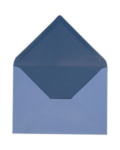 Kuvert, Umschlaggröße 11,5x16 cm, 100 g, Hellblau/Dunkelblau, 10 Stck./ 1 Pck.