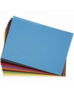 Stickkarton, 3x3 Löcher pro cm , 300 g, Sortierte Farben, 10 Bl. sort./ 1 Pck.