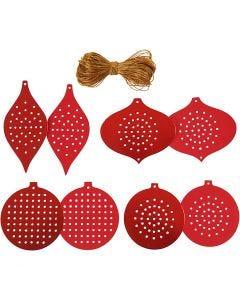 Stickkarton, Weihnachtsschmuck, H: 8,5-12 cm, Lochgröße 3 mm, 280 g, Metallic rot, 32 Stck./ 1 Pck.