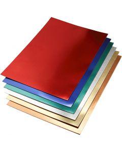 Metallic-Folienkarton, A2, 420x600 mm, 280 g, Sortierte Farben, 30 Bl. sort./ 1 Pck.