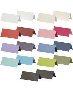 Tischkarten, Größe 9x4 cm, Inhalt kann variieren , 250 g, Sortierte Farben, 30 Pck./ 1 Pck.