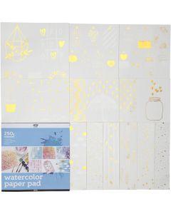 Malblock für Aquarellfarbe aus bedrucktem Papier, Größe 30,5x30,5 cm, Weiß, 12 Bl./ 1 Stck.