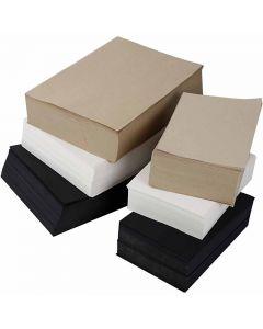 Kraftpapier, A3,A4, 100 g, Schwarz, Grau, Edel, Weiß, 6000 Bl. sort./ 1 Pck.