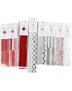 Papierstreifen für Fröbelsterne, L: 45+86+100 cm, D: 6,5+11,5+18 cm, B: 15+25+40 mm, Schwarz, Rot, Silber, Weiß, 18 Pck./ 1 Pck.