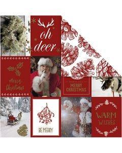 Design-Papier, Weihnachtsmotive / Zapfen, 180 g, Gold, Rot, 3 Bl./ 1 Pck.